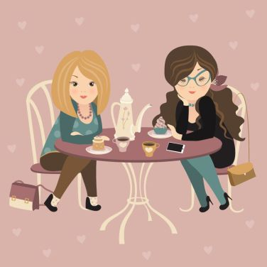 37145696 - two fashion girls chatting at a cafe. vector illustration